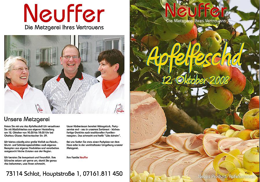 Eine Familie mit langer Tradition im Fleischerhandwerk und Obstbau stellt in dieser Beilage zur Wochenzeitung Ihr neues Produkt vor, den Apfelschinken. Wir waren vor Ort und haben den Schinken fotografiert und die sympathische Metzgerfamilie.