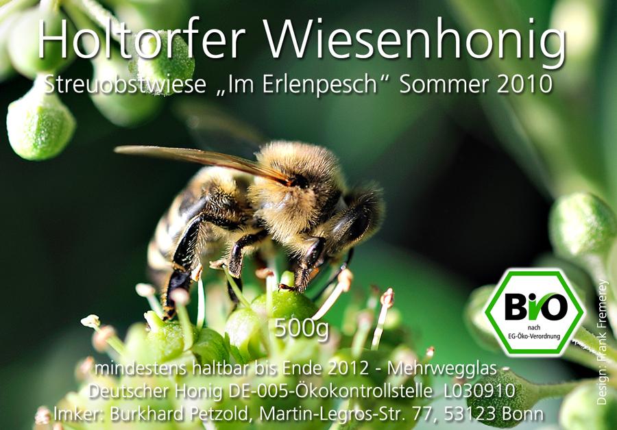 Honigetikett für den Biohonig Sommer 2010 von der Streuobstwiese Im Erlenpesch.