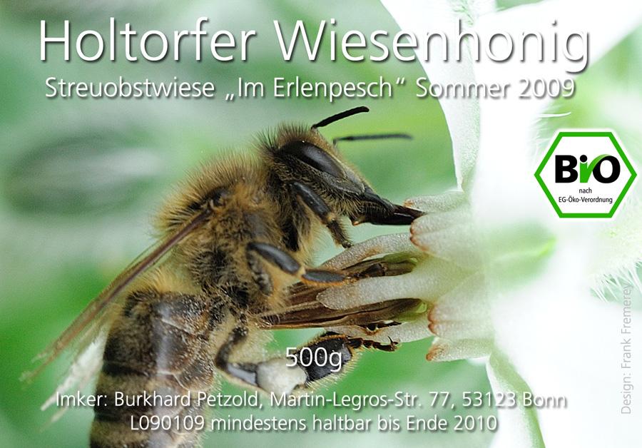 Honigetikett für den Sommer-Honig 2009 von der Streuobstwiese Im Erlenpesch.