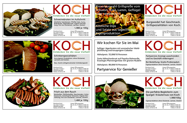 Auszug aus der aktuellen Anzeigenkampagne f�r die Fleischerei Koch