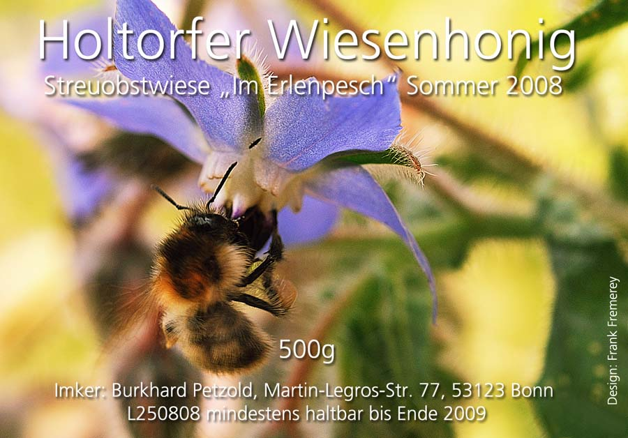 Honigetikett für den Sommer-Honig 2008 von der Streuobstwiese Im Erlenpesch.