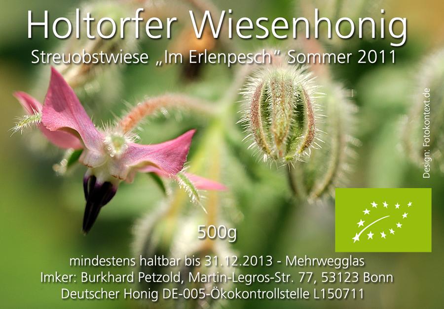 Honigetikett für den Biohonig Sommer 2011 von der Streuobstwiese Im Erlenpesch.