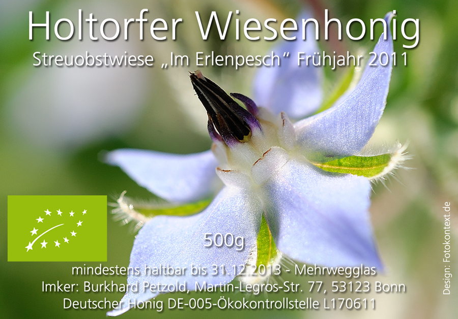 Honigetikett für den Biohonig Frühling 2011 von der Streuobstwiese Im Erlenpesch.
