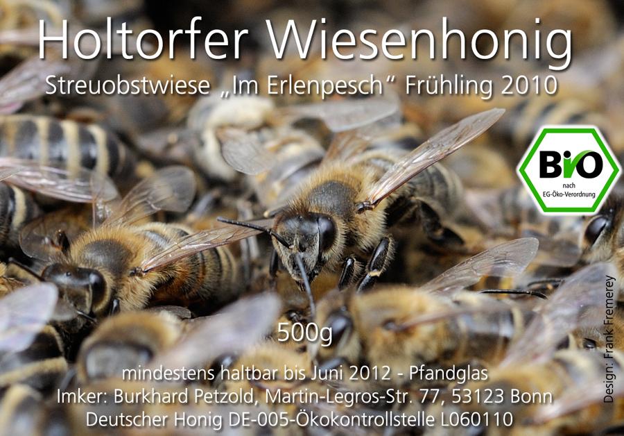 Honigetikett für den Frühlingshonig 2010 von der Streuobstwiese Im Erlenpesch.